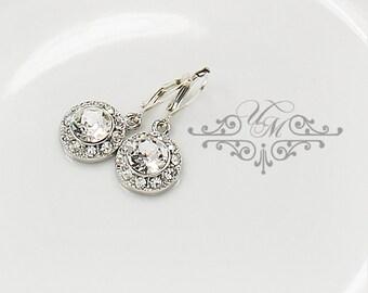 Wedding Jewelry Wedding Bridal Earrings Bridesmaids Earrings Swarovski Crystal Dangle Earring Rhinestone Earrings diamond look - ORLA