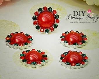 CHRISTMAS Pearl Rhinestone Button Metal Flatback Embellishment Red Green Holiday Scrapbooking Headband flower centers 5 pcs 18mm 067024