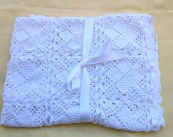 Crochet baby blanket, baby afghan, white crochet blanket, christening  blanket, vintage crochet blanket, white cotton blanket ,elegant throw