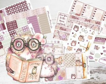 "Deluxe Kit // Vertical Planner Stickers - 8 Pages // Weekly Sticker Kit // For Use With Erin Condren Life Planner // ""Owl You Need Is Love"""