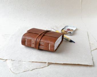 Leather Journal with Decorative Stitching and Mixed Media Paper