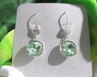 Swarovski Crystal Chrysolite (Light Green) Cushion Cut Earrings on Filigree Teardrop Sterling Silver Findings