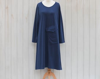 SALE** Plus Size Lagenlook Cotton Dress, Ladies Casual Dress, Pockets, Womens Long Sleeves, 14 16 18 20 22 24  Scoop Neck, Casual Soft 7016