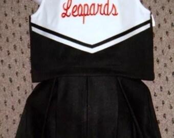 "Girls Black & White ""Leopards"" Logo cheerleader uniform dress up Costume"