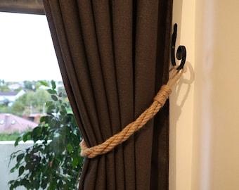 Set of 2 pcs - Curtain Tiebacks Jute Rope - Decor for window - Nautical style - Twisted Jute Rope
