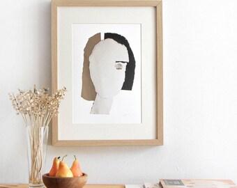 Modern Home Decor Wall Art, Collage Neutral, Woman Art Print 8x10, Living Room Decor