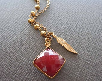 Ruby Necklace Gold Pyrite and Feather Necklace / Genuine Ruby Square Bezel/ July Birthstone/ Red Stone Feather Necklace/July Birthday Gift