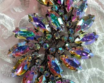"ACT/XR120 Black Backing Aurora Borealis Marquise Swirl Crystal AB Rhinestone Applique Embellishment 2.75"" (ACT/XR120-bkab)"