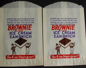Old BROWNIE Ice Cream Sandwich Waxed Sleeves National Biscuit Company Unused 2