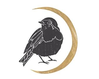Linocut Moon Robin / Modern Handcrafted Art