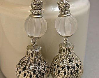 Vintage White Lucite Melon Bead Earrings Dangle Drop,Vintage Filigree Silver Plated Metal Teardrop Bead - GIFT WRAPPED JEWELRY