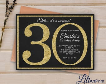 30th Birthday Invitation, Gold Invitation,  Gold Glitter Birthday Invite, Digital file 9