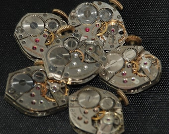Vintage Watch Movements Parts Steampunk Altered Art Assemblage RT 69