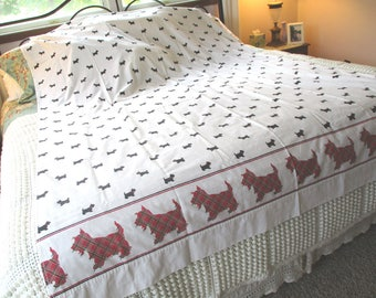 Vintage Plaid Scottie Dog Twin Flat Sheet, Red Plaid Sheet, Tartan, Utica