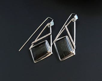 Tiger Iron Earrings, Brown Stone Dangles, Contemporary Sterling Silver Asymmetrical Design, Modern Silversmith Forged Ear Wires