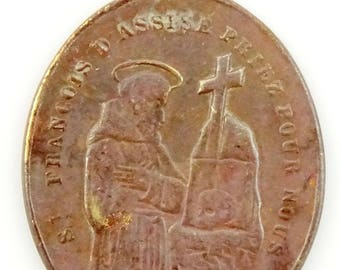 Vintage French Medal Saint Francois d'Assise Francis of Assisi St Anthony