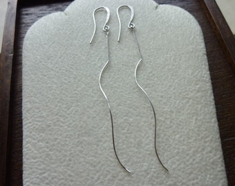 Long Chain and Skinny Swirl Stick Silver Earrings