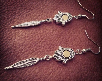Shine // Hamsa Earrings // Zen Earrings // Yoga Earrings // Hippie Earrings // Feather Earrings // Silver Earrings // Boho Chic // Bohemian