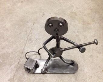 "Metal art Electric Guitar player made out of scrap metal 7"" tall"