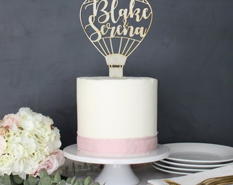 Personalized Modern Rustic Hot Air Balloon Wedding Cake Topper | Custom Name | Destination Wedding