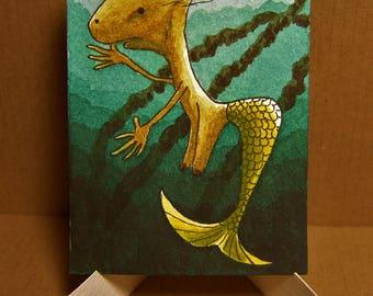 ACEO. Artist trading card. 'Original watercolour.' 'Kelpie, object of desire.' Matthew Wright.