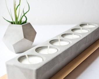 Concrete Tea Light Holder 6 piece - Wedding Centerpiece - Concrete Table Centerpiece - Tea Light Centerpiece - Modern Candle Holder