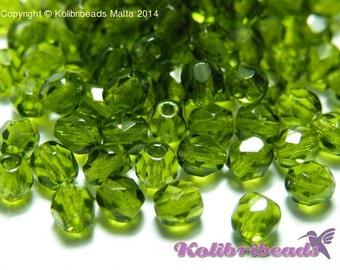 Fire polished Czech Glass Beads 4 mm - Olivine