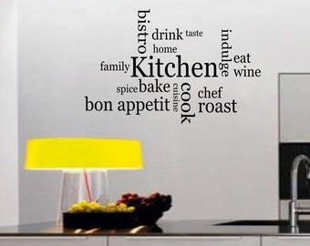 Kitchen Bon Appetit Wall sticker, decal ,quote wall art home decor removable diy stickers sign words sticky letters
