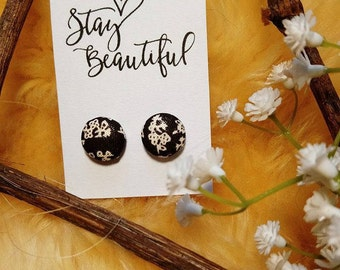 Pretty Fabric Covered Stud Earrings 12mm