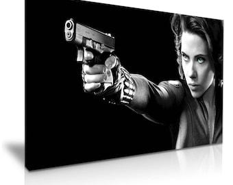 Avengers Black Widow Marvel Movie Stretched Canvas Print 76 cm x 50 cm
