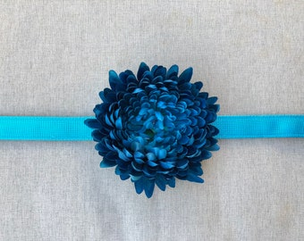 Blue Chrysanthemum Flower Dog Collar