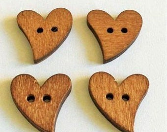 25 Brown Wood Wooden Sewing Heart Shape Button Craft Scrapbooking 20mm - BJ005