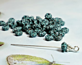 6.5mm, Mykonos Greek, Bali Style, Green Patina, Grover Spacer Beads, 12 Pcs (1 Dz), Copper Metal Casting, DIY Jewelry, Bead Supply