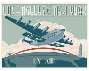 Los Angeles to New York By Air Wall Decal #44826