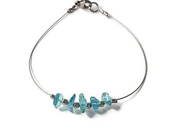 Wire jewelry, blue apatite bracelet, silver wire bracelet, blue gemstone jewelry, genuine gemstone bracelet, natural apatite jewelry shiny