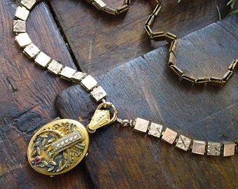 Antique Victorian Gold Fill Locket BookChain Choker Necklace, Ruby and Pearls Gold Fill Locket, Tintype photos, Jewelry gift for her