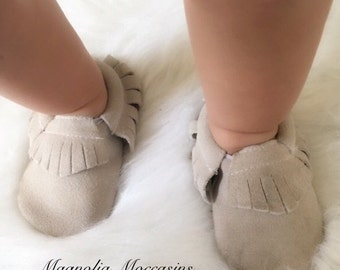 Baby Moccasins, Gray Genuine Suede Leather Baby Moccasins, Handmade Mocc, Baby Moccs, Leather Moccs