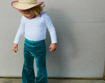 3T Velvet Bell Bottoms- Kids Clothes Size 3T TURQUOISE