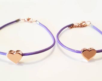 Mommy and Me Matching Heart Bracelet- Purple