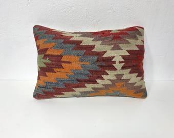 Kilim lumbar pillow, lumbar cushion cover, decorative lumbar pillow, throw lumbar pillow, colorful lumbar cushion, vintage pillow, 13x19