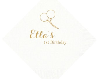 Balloon Personalized First Birthday Napkins