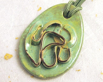 Ceramic pendant antique green glaze