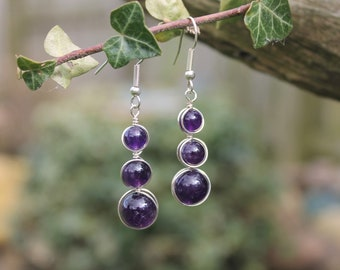 Wire Wrapped Amethyst Drop Earrings, Graduated Drops, Purple Amethyst, Gift for Her, February Birthstone, Purple and Silver Drop Earrings