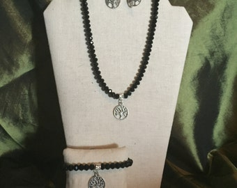 Black Crystal Silver Tree of Life Necklace, Bracelet and earrings