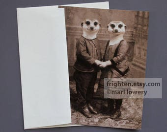 Meerkat Note Card, Eco-Friendly Blank Note Card with Envelope, Valentine's Day Card, Animal Note Card, Romantic Couple Holding Hands