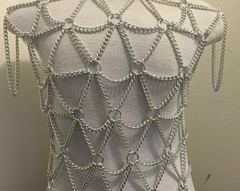 Men's Silver Diamond Chain Harness Shirt