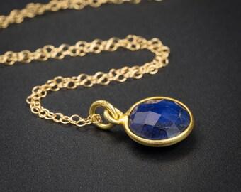 Sapphire pendant necklace, Sapphire vermeil gold handmade semiprecious stone bezel set pendant necklace blue gold pendant, sapphire jewelry