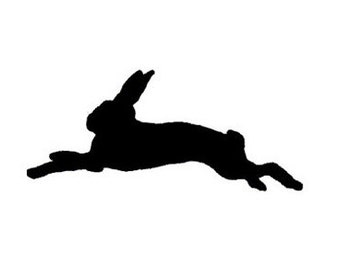 Vintage hopping bunny rabbit silhouette image turned Rubber Stamp