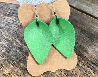 Leather earrings - Petals - Garden Greens