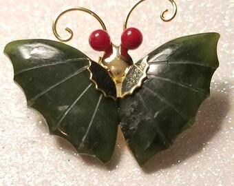 ON SALE  : Vintage Dark Green Jade Butterfly Pin Brooch Goldtone with Red Eyes